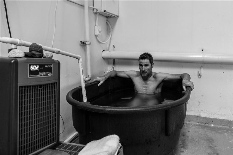 Icebath makes Crowie feel good because his legs go numb and he can't feel anything! Photo from Specialized