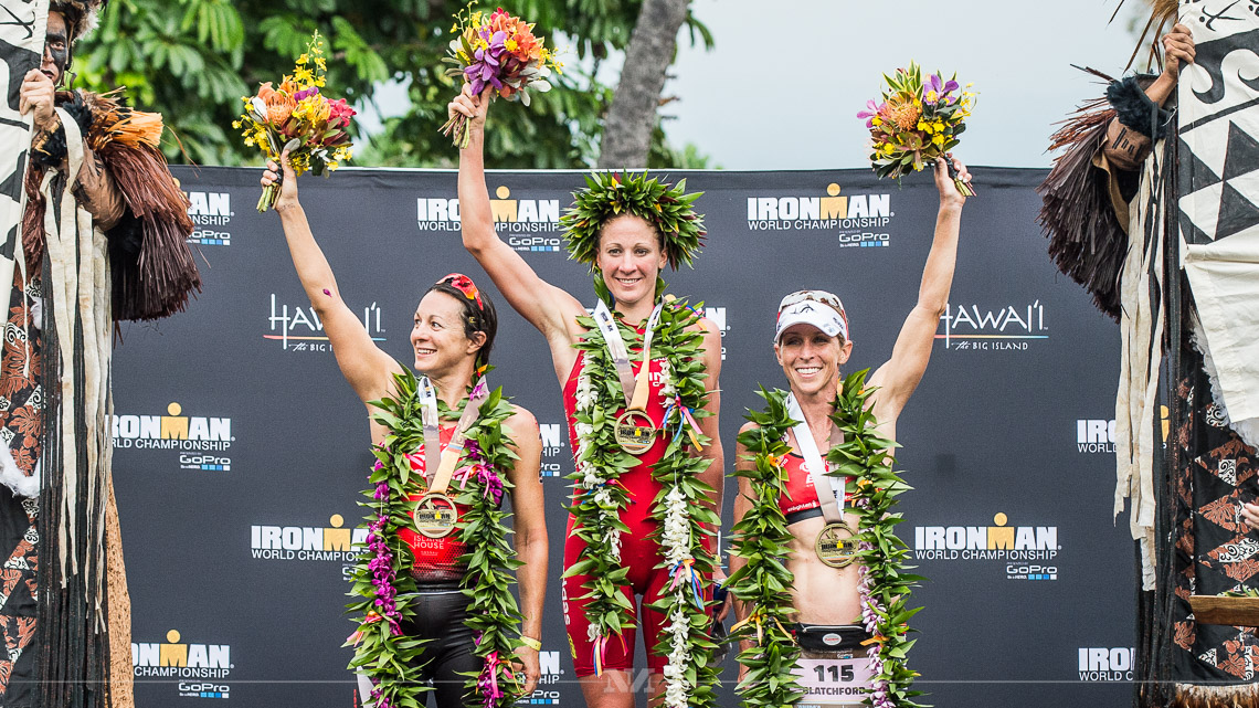 From left: Rachel Joyce, Daniela Ryf and Liz Blatchford on the podium at Ironman Kona 2015. Photo from Ironman.