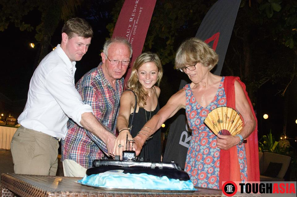 Fr L-R: Grandson Steven, Son Chris, Granddaughter Hazel and Daughter in-law Sue of Colonel Spencer Chapman's family commemorated his escape from Pangkor Laut in the Chapman's Challenge.