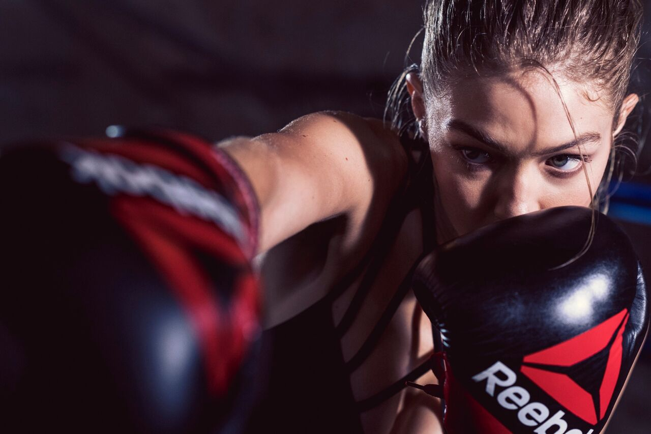 Gigi Hadid learned to change the channel, to re-focus, re-set from imperfection to improvement. (Reebok)